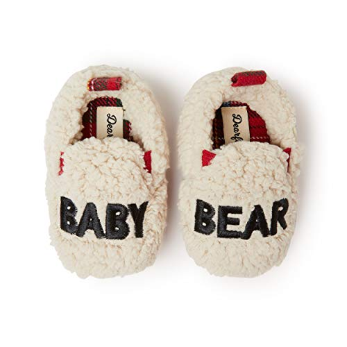 Dearfoams Family Collection Baby Bear Plaid Closed Back, Baby Bear Crème Brulee, 6-9 Months Infant