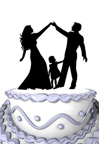 Acrylic Wedding Cake Topper - Meijiafei Acrylic Wedding Cake Topper Silhouette Bride and Groom and Little Girl Family Party Decoration