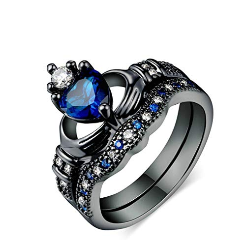 TraveT Fashion Rhinestone Couple Rings Double-Layer Crystal Men's Band Heart Blue Sapphire Women's Wedding Ring Sets Size 5-12,Black 8#