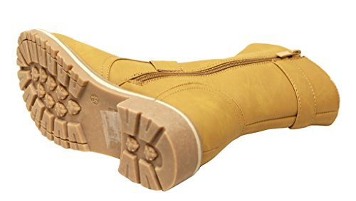 Forever Broadway-8 Womens Round Toe Double Buckle Straps Side Zipper Woolen Lining Winter PU Boots Camel RYLLV