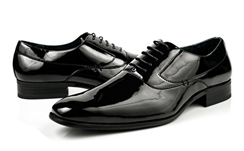 Delli Aldo Men's Dress Shoes Lace up Tuxedo Oxfords Patent Black Shiny Finish (8)