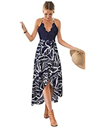 Blooming Jelly Women's Deep V Neck Sleeveless Summer Asymmetrical Floral Maxi Dress