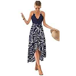 Blooming Jelly Women's Halter Neck Deep V Asymmetrical Floral Dress Lace Summer Maxi Dress