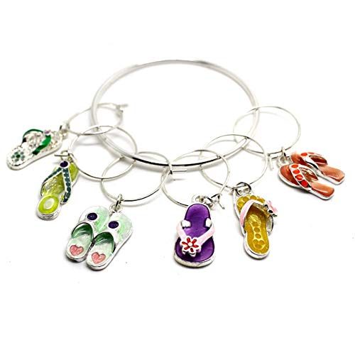 Hope Collection Flip Flop Wine Glass Charms [Island Style/Party Decoration],Silver,One Size ()
