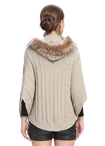 NiSeng Mujer manga larga capas de invierno de punto corto ponchos con capucha piel sintetico Beige