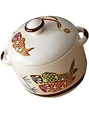 HEMOTON Keramische Stockpot Japanse Ronde Stewpot met Deksel Kookplaat Stoofpot Hot Pot Clay Potten Soep Pot Stoofpot Pan voor Huishoudelijke Keuken 450 ml
