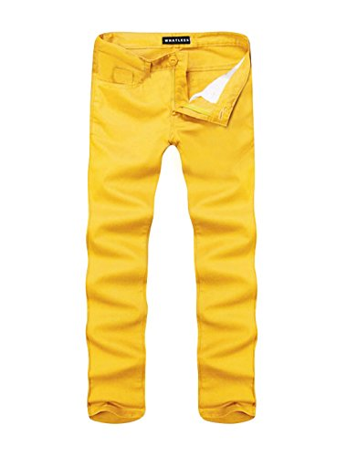 uxcell Straight Casual Pants Yellow