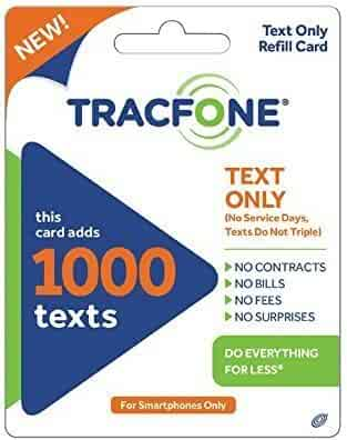 Tracfone 1000 Text Message PIN Refill Card, Only for Smartphones, Delivered through the mail, no minutes / data included