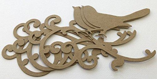 (3)BIRD on SCROLL Flourish Elegant Birds - Bare Chipboard Die Cuts - (Scroll Chipboard)