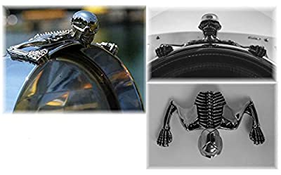Highway Hawk 66-071 Crouching Skeleton Statue Fender/Visor Ornament, Large