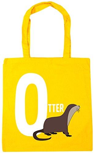 litres 10 is animal O Yellow otter Gym Beach Shopping HippoWarehouse Tote alphabet x38cm 42cm Bag S7OwSUq