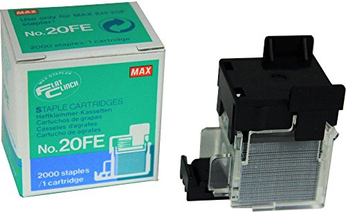 Max 20FE Flat Clinch Stapler Cartridge For use with EH-20F Flat Clinch Stapler Cartridge, Staples Up to 20 Sheets of Paper (Based on 80gsm stock), 2000 Staples in Total (Max Staple Flat)