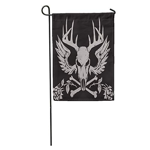 (Semtomn Garden Flag Gray Skull Deer Crossbones Antlers Evil Head Wings Emblem Roses Home Yard House Decor Barnner Outdoor Stand 28x40 Inches Flag)