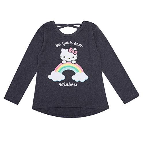 Hello Kitty Long Sleeve Shirt - Toddler Girls Hello Kitty T-Shirt (Rainbow Heather, 4T) ()