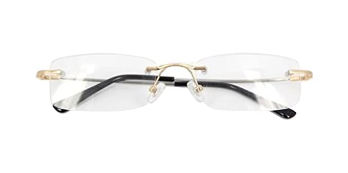 Amazon.com: Eyewear readers Gold Flexible Rimless Memory Titanium ...