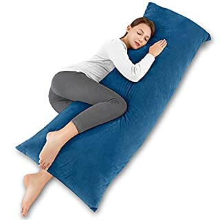 INSEN 55in Body Pillow-Full Body Pillow- Bed Sleeping Pillow-with Removable Body Pillow Cover(Ocean Blue Velvet)