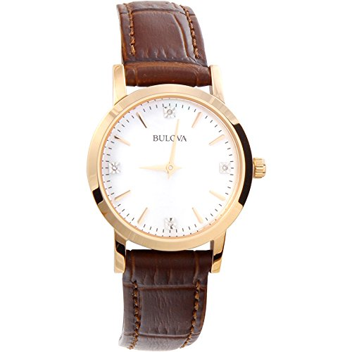 Bulova Women's 97P105 Diamond Gallery Analog Display Japanese Quartz Brown Watch (Bulova Diamond Wrist Watch)