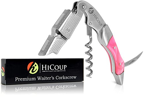 Waiters Corkscrew by HiCoup - Professional Stainless Steel with Flamingo Resin Inlay All-in-one Corkscrew, Bottle Opener and Foil Cutter, the Favoured Wine Opener of Sommeliers, Waiters and Bartenders