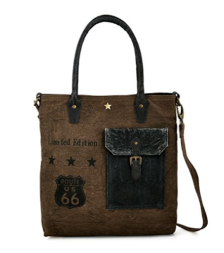 Tote bag for Women, Unique Design, Made of Canvas and Leather, Eco friendly bag, Handbags for Women by Daphne (3 Star)
