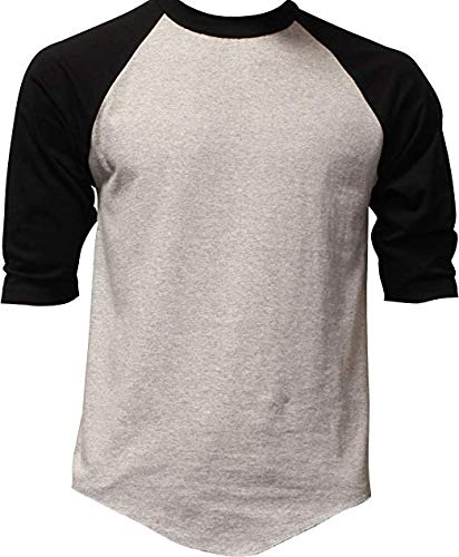 DealStock Casual Raglan Tee 3/4 Sleeve Tee Shirt Jersey Heather Gray/Black -