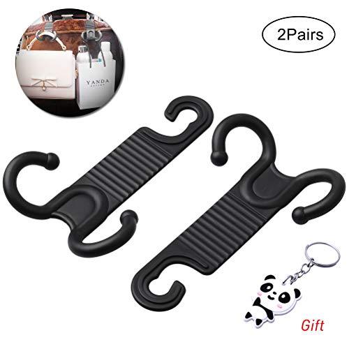 SUMAJU 4 Pieces Black Car Hooks, Car Seat Back Hook Seat Headrest Hanger Seat Portable Organizer for Grocery Bag Hat Coat Car Accessories ()