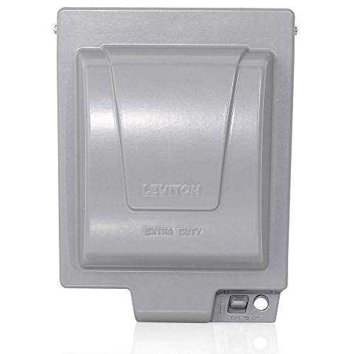 Leviton IUM2V-GY Extra Duty Outlet Hood, 2-Gang GFCI Or Duplex Receptacle Or Single Receptacle, Horizontal Mount, Gray