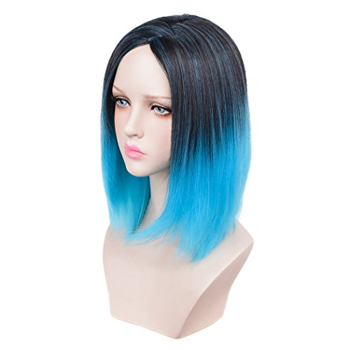 [SiYi Bob Wig Blue Short Ombre Straight Synthetic Cosplay Wigs Heat Resistant Wigs Pastel Lob Lolita Full Wig for Women] (Blue Wigs For Women)