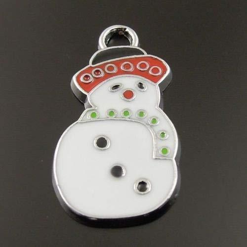 FidgetFidget Christmas Enamel Alloy Snowman Charms Necklace Pendant Findings 12 PCS