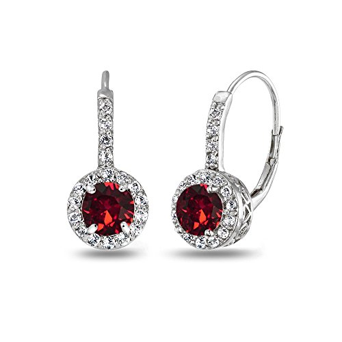 Sterling Silver Dark Red Halo Leverback Drop Earrings created with Swarovski Crystals