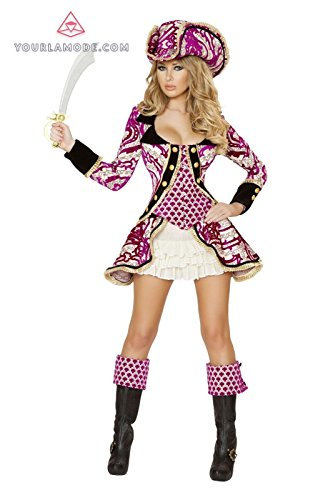 Seductive Pirate Captain Adult Costumes (Roma Costume 4PC Seductive Pirate Captain Costume Bundle with Pink Shorts)