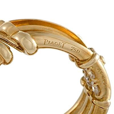 Piaget Womens 18K Yellow Gold Diamond Hinged Triple Hoop Earrings