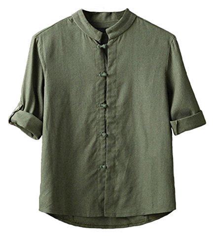 Plaid&Plain Men's Linen Cotton Mandarin Collar Roll-Up Sleeve Frog-Button Shirt ArmyGreen (Mandarin Collar)