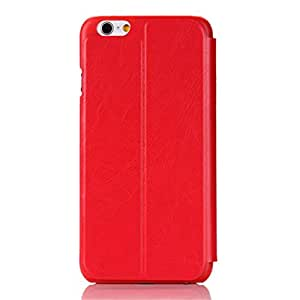 Reutry Unisex Adults Iphone 6 4.7'' Transparency Window View Stand-up Phone Case Cover (Red)