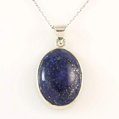 Sterling Silver Genuine Dark Blue Lapis Lazuli Gemstone Oval Handcrafted Pendant Necklace 18+2'' Chain