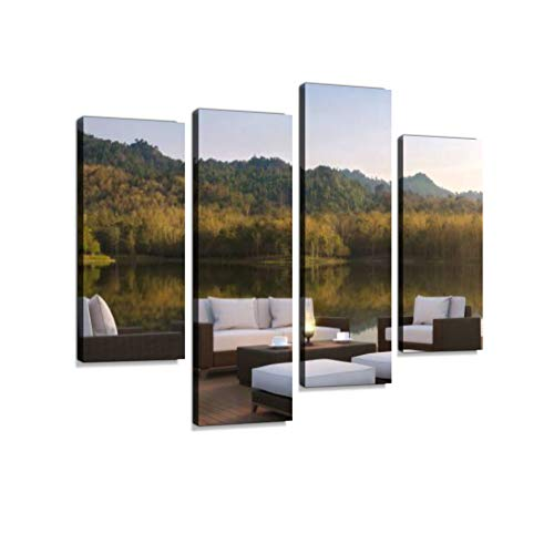 (Outdoor Living Area and Beautiful Nature 3D Rendering Image Canvas Wall Art Hanging Paintings Modern Artwork Abstract Picture Prints Home Decoration Gift Unique Designed Framed 4 Panel)