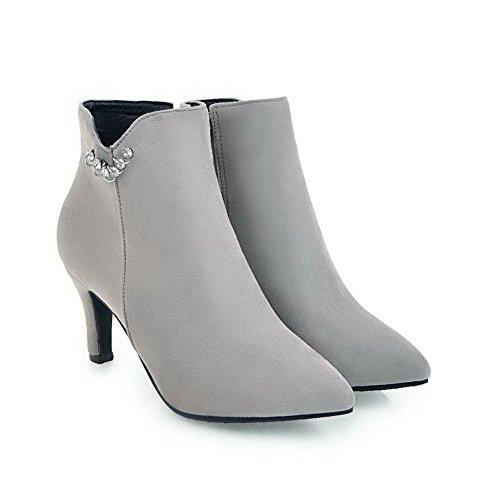 Balamasa Donna Tuxedo Ankle-high Cristalli Camoscio Stivali Abl10575 Grigio