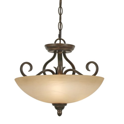 Riverton Pendant Finish - Golden Lighting 1567-SF PC Riverton Convertible Semi-Flush, Peppercorn Finish