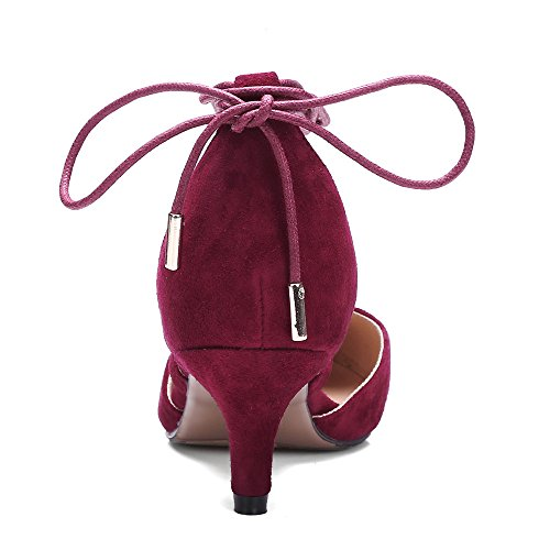 Nine Seven Cuero Puntiagudos Tacones de Aguja con Correa de Tobillo de Vestir para Mujer Rosa