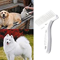 PCEPEIVK Dog Comb, Stainless Steel Deshedding and Dematting Undercoat Rake for Cat Groom Dog Puppy Grooming Brush Pet Dog Clean Tool