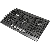 METAWELL 30' Black Titanium Built-in 5 Burners Stoves Natural Gas Hob Cooktops Cooker