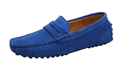 TDA Mens Stripe Multi Color Hot Suede Moccasin Loafers Boat Shoes Royalblue RlCzy9