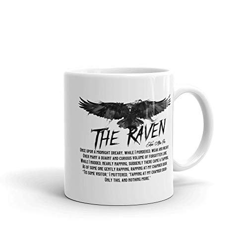 PMIHWH0023 Edgar Allan Poe Classic Poem About The Raven Mug Gift For Lovers Of The Raven Halloween Literature Thriller Scary -