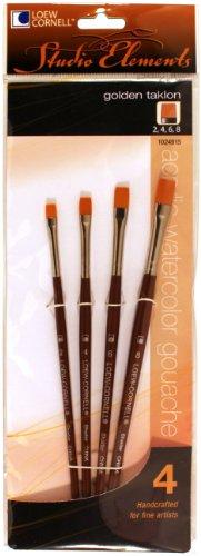 Loew-Cornell 1024915 Studio Elements Short Handle Golden Taklon Shader Brush Set, 4-Piece (Taklon Shader Brush)