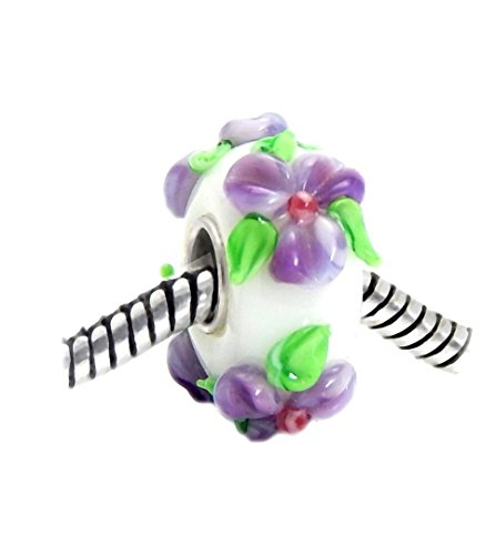 J&M 3D Handmade Purple Flower Murano Glass Charm Bead for Bracelets