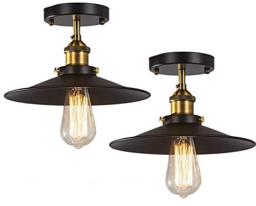 - FadimiKoo Semi-Flush Mount Ceiling Light E26 E27 Base Black Antique Industrial Ceiling Fixture for Hallway Porch Bedroom Kitchen,2 Pack