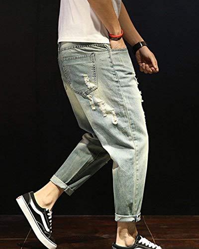 Hellblau Giovane Jeans Harem Regolare Strappati Casual Da Pantaloni Distressed Fashion Vestibilità Etero Saoye Usedlook Denim Uomo Retro AqCaWwz