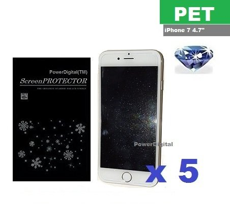 PowerDigital(TM) Diamond Sparkling Glitter Screen Protector for iPhone 8 iPhone 7 4.7 with Lint Cleaning Cloth (Retail Packaging, PET Material) - 5 Pack