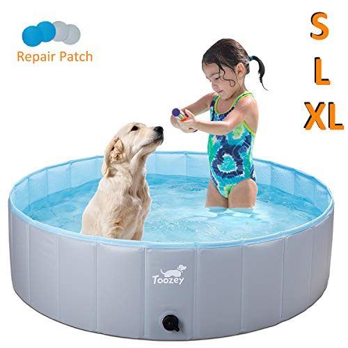 Toozey Foldable Dog Pet Pool, Collapsible Heavy Duty PVC Kiddle Pool Pet Pool - Slip Resistant Material Bathing Tub for Dogs Cats and Kids -