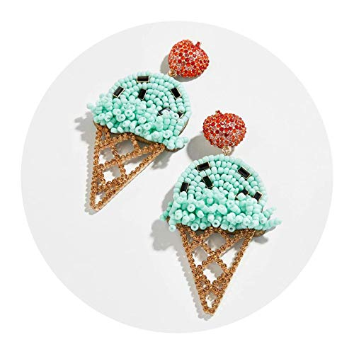 2019 Summer Ice Cream Shaped Handmade Woven Drop Earrings Female Elegant Wedding Earrings for Women Gifts,28