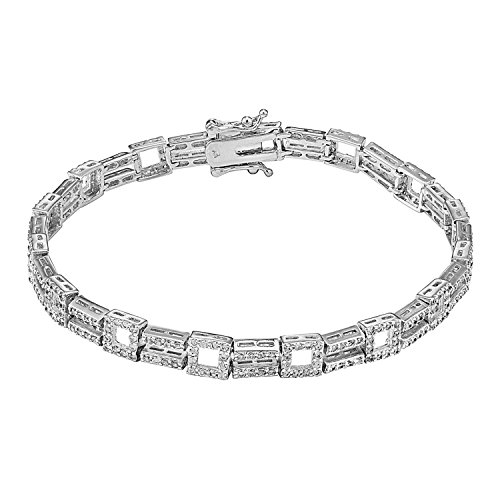 Womens Two Row Tennis Link Bracelet 14K White Gold Finish Iced Out Simulated Diamonds Box ()